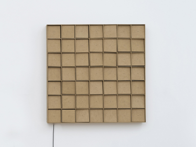 , '49 prepared dc-motors, mdf elements, mdf boxes 13x13x13cm,' 2015, Galerie SOON