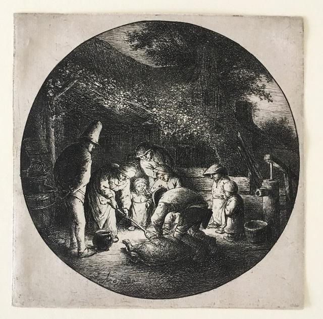 Adriaen van Ostade, 'The Pork Butcher', ca. 1642, Print, EtchingCG Boerner, Dusseldorf. Dr W Beck, b. 1895, Berlin. (Lugt 2603b), Pia Gallo