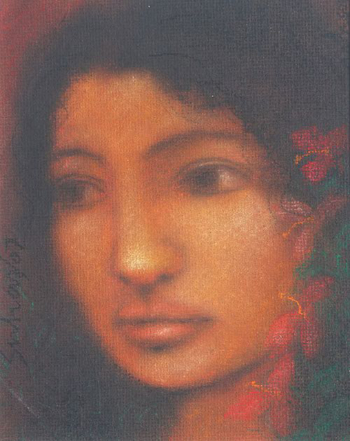 Suhas Roy, 'Radha, figurative, Modern Indian Art by Suhas Roy in Soft Colored Pastel on board', 2007, Gallery Kolkata
