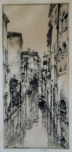 Ernest David Roth, 'Rio della Pergola, Venice', 1924, Print, Etching, Private Collection, NY