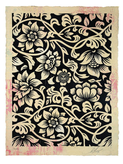 Shepard Fairey (OBEY), 'Floral Takeover (Cream/Black)', 2017, Underdogs Gallery