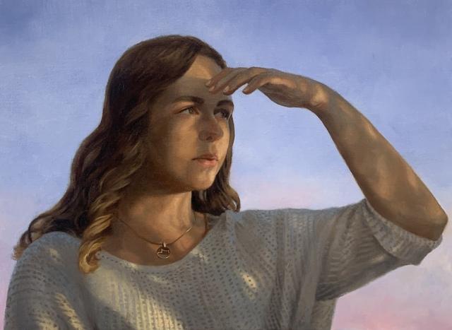 Julianna Wells, 'Looking Forward (Portrait of Rachel Linnemeier)', 2020, Painting, Oil on linen, 33 Contemporary