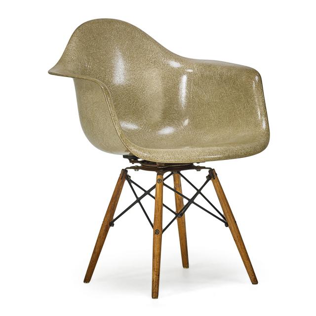 Charles Eames, 'Early Walnut Dowel Leg Swivel Armchair (Paw), Zeeland, MI', 1950s, Rago/Wright