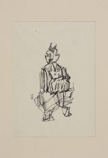 , 'Spårvagnskonduktris, skiss till Kvinnopelaren,' 1956-1958, Andréhn-Schiptjenko