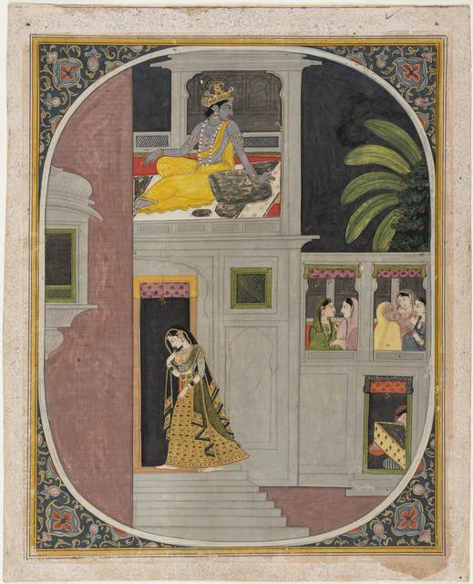 , 'Radha goes to Krishna's house at night. Folio from a Rasraj.,' ca. 1850, Princeton University Art Museum