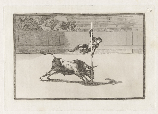 , 'Ligereza y atrevimiento de Juanito Apiñani en la de Madrid [The Agility and Audacity of Juanito Apiñani in [the Ring] at Madrid], plate 20,' 1815-1816, Blanton Museum of Art