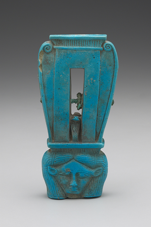Sistrum (Rattle) with the Head of Hathor, Egyptian, Ptolemaic, ca. 304–30 b.c.e. Faience. Yale University Art Gallery, Gift of Mr. and Mrs. Fred Olsen