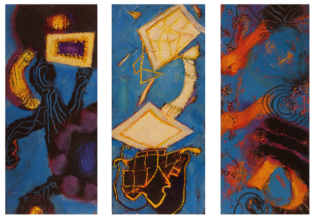 William Scharf, 'Admiration of the Frame, In Folded Guilt, The Relics Remember (From left to right)', 2006, 7, 2003, 7, 2002 (From left to right), Hollis Taggart