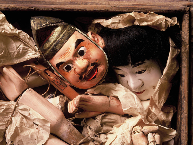", '""heads left in atelier"" Spirited face of wooden puppet,' 1991-1993, Photo Gallery Artisan"