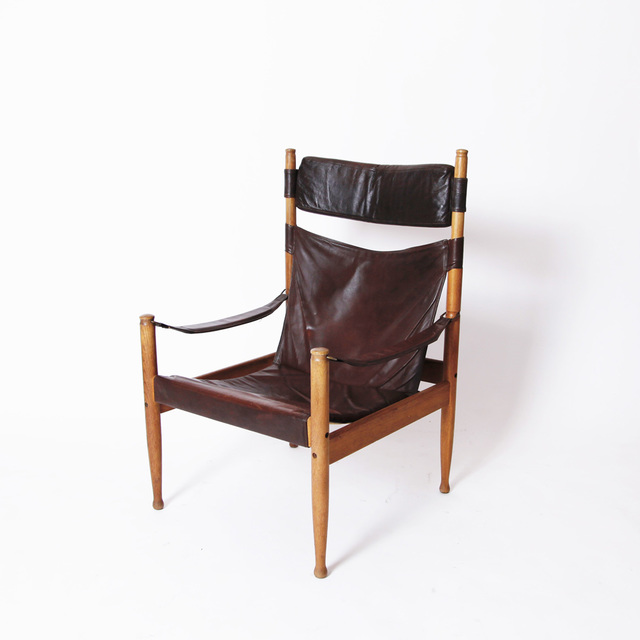 , 'LEATHER HIGH BACK SAFARI CHAIR,' ca. 1960, Lawton Mull