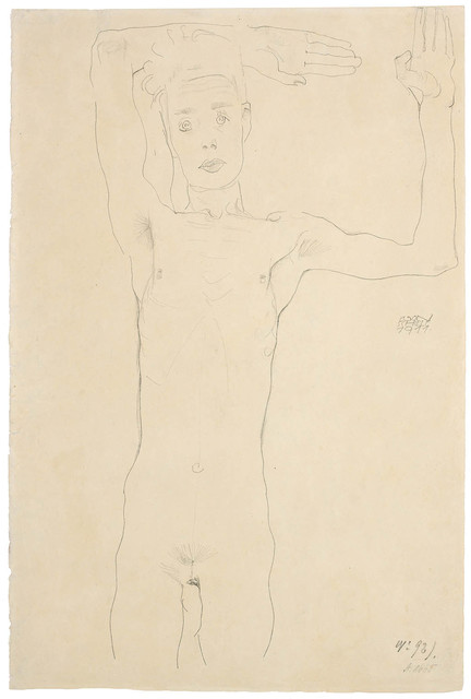 , 'Standing Male Nude with Raised Arms (Self-Portrait),' 1911, Galerie Bei Der Albertina Zetter