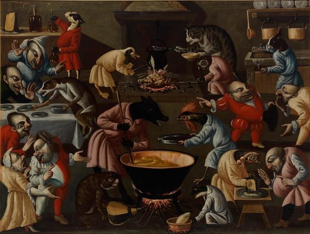 , 'Groteske Szene mit Tieren und stilisierten Figuren in einer Küche,' , Galerie Michael Haas