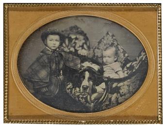 Children with Saint Bernard