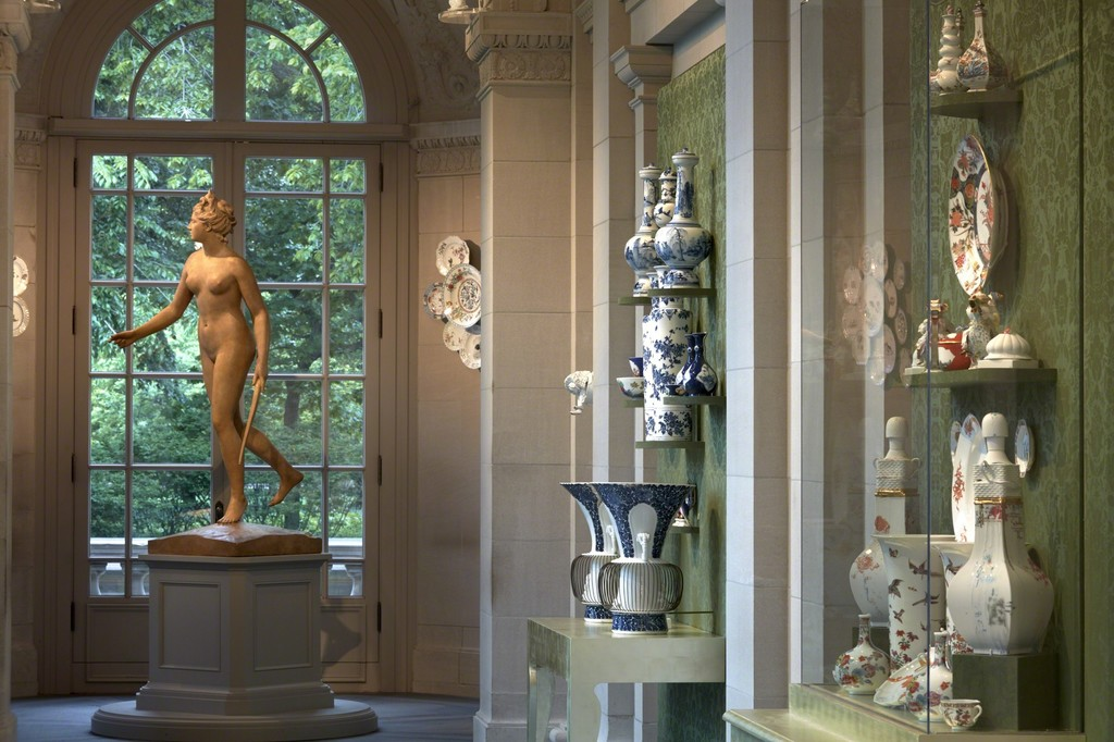 Installation view of Porcelain, No Simple Matter: Arlene Shechet and the Arnold Collection in the Frick's Portico Gallery; photo: Michael Bodycomb