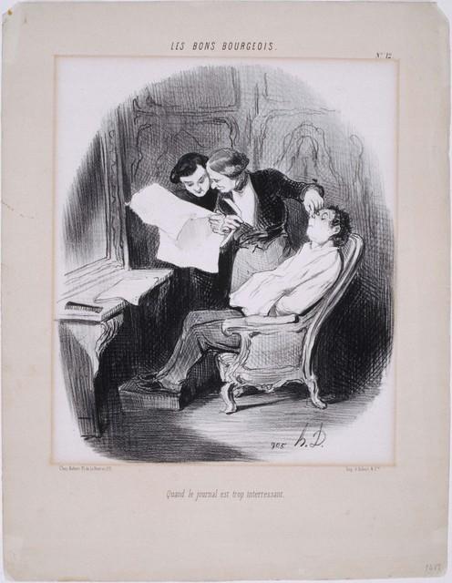 Honoré Daumier, 'Les Bons Bourgeois: Quand le journal est trop intéressant', 1846, Phillips Collection