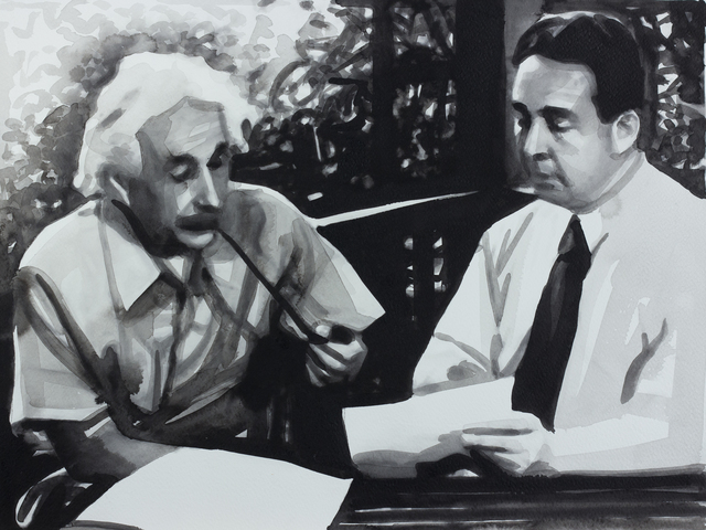 , '02 August 1939 - Albert Einstein and Leó Szilárd write a letter to Franklin D. Roosevelt, urging him to begin the Manhattan Project to develop a nuclear weapon (aus der Serie / from the series 365),' 2013, Christine König Galerie