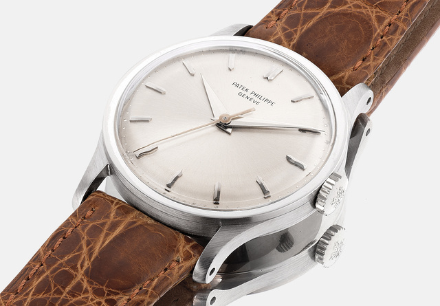 Patek Philippe, 'A fine, very rare and attractive white gold wristwatch with sweep center seconds, silvered dial, extract from the archives and presentation box', 1965, Phillips