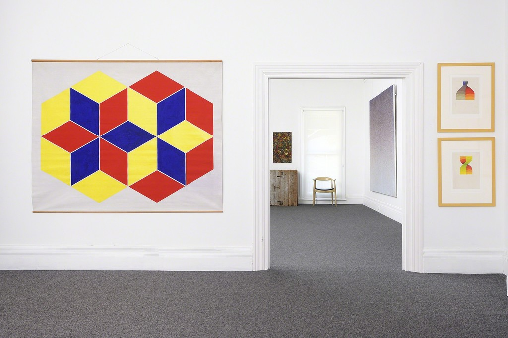 Trevor Vickers, Yellow Hexagon and Red Hexagon, c. 1970-1971 (left) Normana Wight, Untitled, 1970 (right)