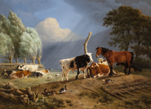 Henriëtte Ronner-Knip, 'Horse and Cattle in a Landscape, a Storm approaching', 1842, Daatselaar Fine Art & Antiques