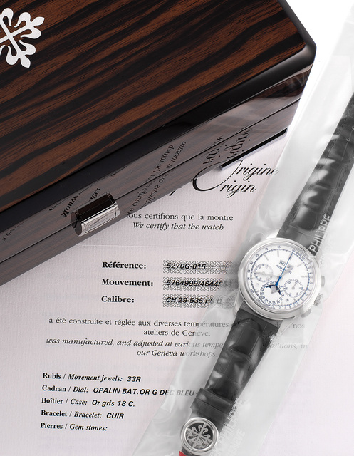 Patek Philippe, 'An extremely fine and rare limited edition perpetual calendar chronograph wristwatch with white dial, blued seconds hand, certificate of origin, additional solid case back, and presentation box, single sealed.', Circa 2013, Phillips
