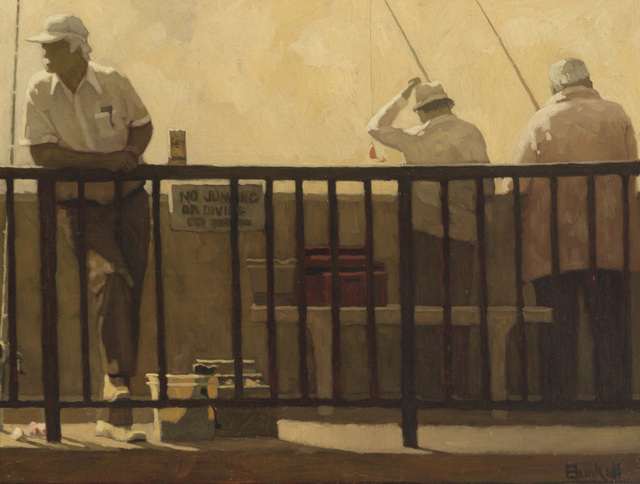 Richard Bunkall, 'Pier scene with fishermen', John Moran Auctioneers