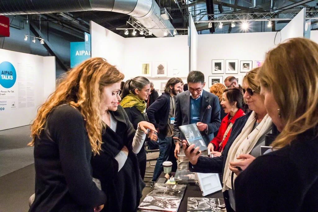 Marina Font, Dina Mitrani, Michelle Dunn Marsh, Douglas So and clients, AIPAD 2018. Photograph by Robert Wade