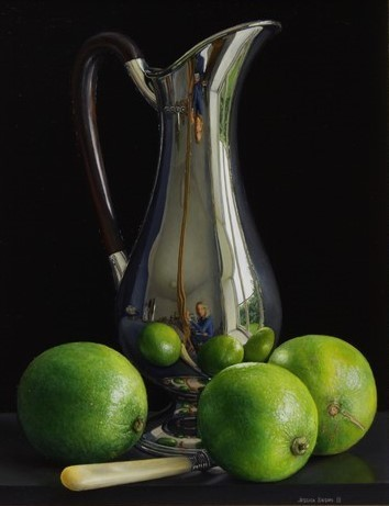 , 'Still Life with Silver Art Nouveau Jug and Three Limes,' 2018, Quantum Contemporary Art