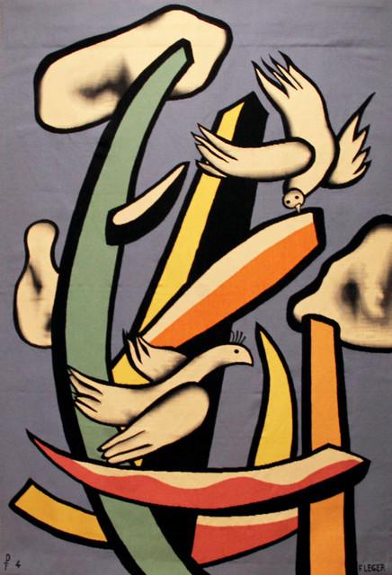 """, '""""Oiseaux blancs sur fond bleu"""",' 1955-woven c. 1960, Jane Kahan Gallery"""