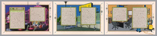 , 'American Qur'an: Sura 39 A-C, triptych,' 2013, Koplin Del Rio
