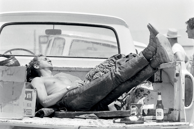 John Dominis, 'Steve McQueen sleeping in the back of his pick up truck, California', 1963, Photography, Gelatin Silver Print, Staley-Wise Gallery