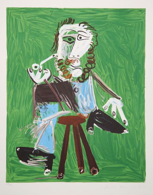 Pablo Picasso, 'Homme a la Pipe Assise sur un Tabouret, 1969', 1979-1982, Print, Lithograph on Arches paper, RoGallery