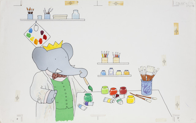"Laurent de Brunhoff, '""Babar in his Studio,"" published cover illustration of Babar's Book of Color,' 1984, Mary Ryan Gallery, Inc"