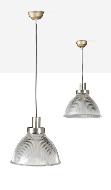 '2 pendant lights', Circa 1970, Design/Decorative Art, Glass, steel, Aguttes