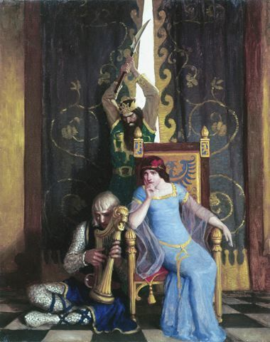 , 'King Mark slew the noble knight Sir Tristram as he sat harping before his lady la Belle Isolde,' 1917, Somerville Manning Gallery
