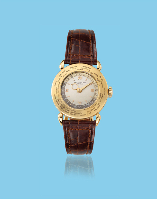 ", 'Yellow gold ""World Time"" wristwatch, ref. 1415,' ca. 1950, Davide Parmegiani Fine Watches"