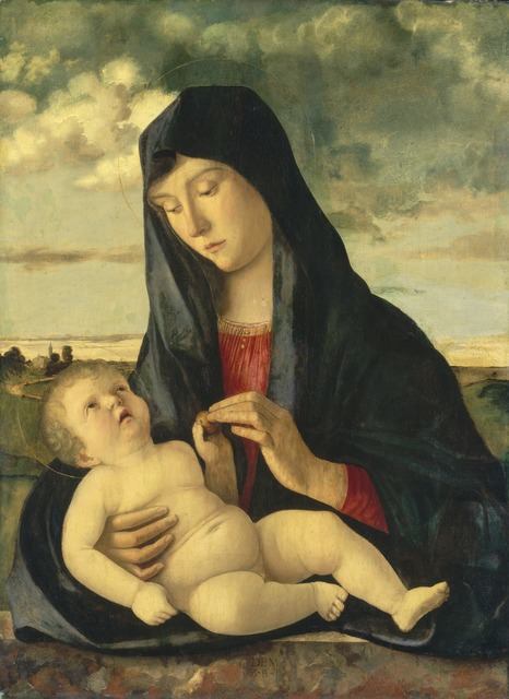 Giovanni Bellini, 'Madonna and Child in a Landscape', ca. 1480/1485, Painting, Oil on panel, National Gallery of Art, Washington, D.C.