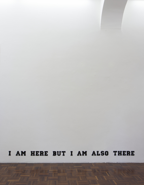 , 'I am here but I am also there (Varsity Black),' 2014, Norma Mangione