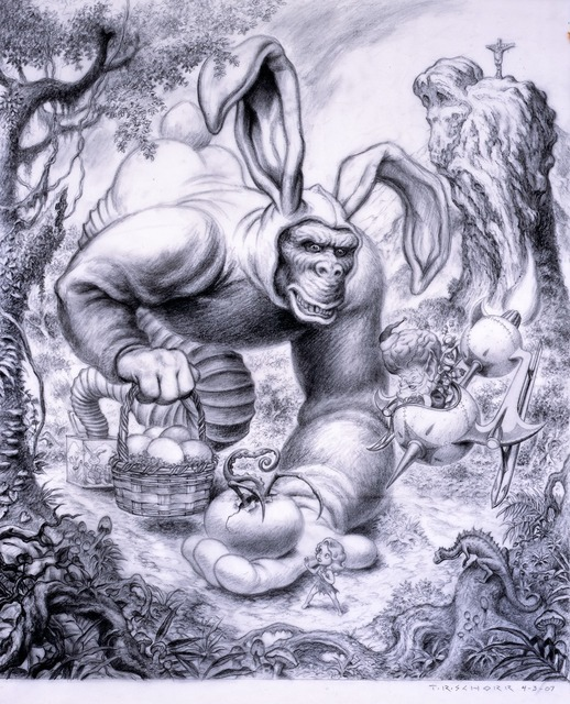 Todd Schorr, 'Ape Allegory', 2009, Drawing, Collage or other Work on Paper, Graphite on vellum, KP Projects