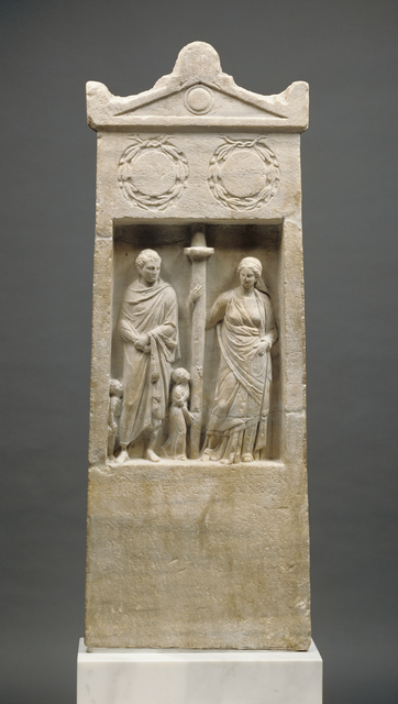 'Grave Stele of Herophanta and Posideos', ca. 150 BCE, J. Paul Getty Museum