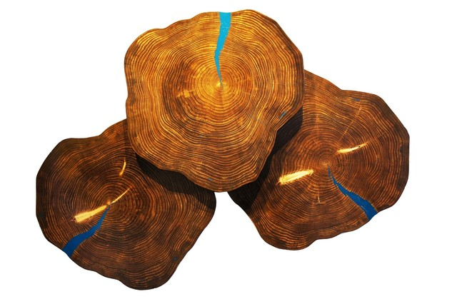 Adam Schwoeppe, 'Large Wood Art 'Blue Cookies' Contemporary Lodge Decor, Wooden Wall Sculpture', 2017, Fringe Gallery
