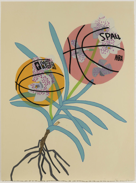 Jonas Wood, 'Double Basketball Orchid 2 (State I)', 2020, Print, Lithograph, Leslie Sacks Gallery