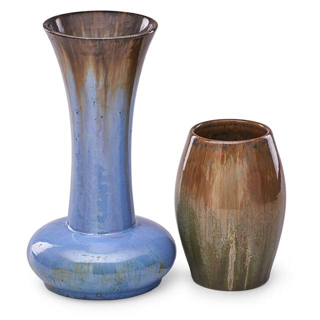 Fulper Pottery, 'Tall Flaring Vase And Short Ovoid Vase, Flambé Glazes, Flemington, NJ', 1910s-20s, Design/Decorative Art, Rago/Wright