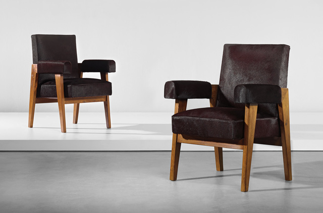 Le Corbusier, 'Two 'Advocate and Press' armchairs, model no. LC/PJ-SI-41-A, designed for the High Court, Chandigarh', circa 1955, Phillips
