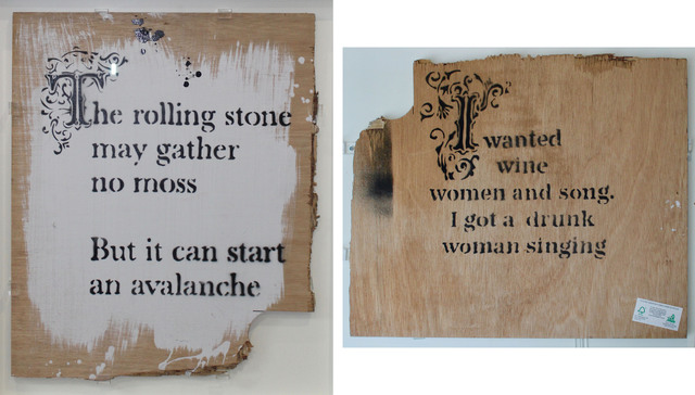 Banksy, 'The Rolling Stone May Gather No Moss…', 2007, Painting, Spray Paint and emulsion on wood, Taglialatella Galleries