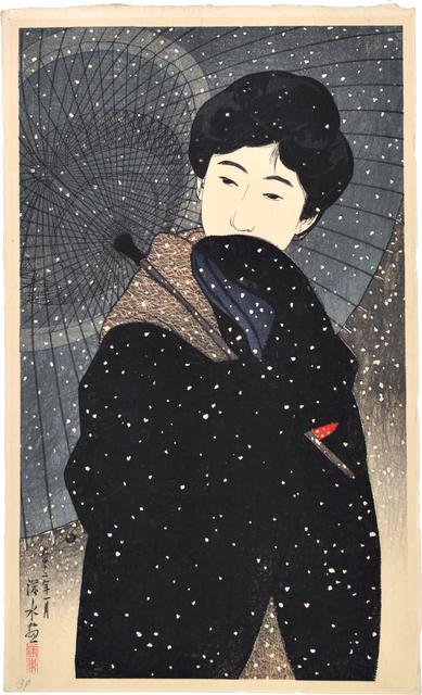 Itō Shinsui, 'Twelve Images of Modern Beauties: Snowy Night', ca. 1923, Scholten Japanese Art