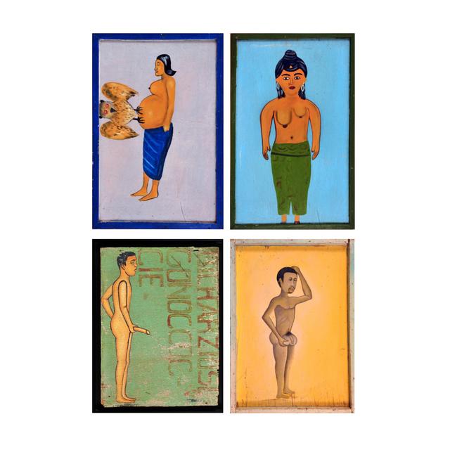 'Quatre enseignes de médecine traditionnelle', Painting, Plated against painted American box, PIASA