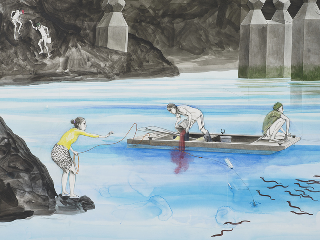 Charles Avery, 'Untitled (Eel fishing beneath the bridge (Era of the Pentagon)', 2021, Drawing, Collage or other Work on Paper, Pencil, acrylic and ink on paper mounted on linen, GRIMM