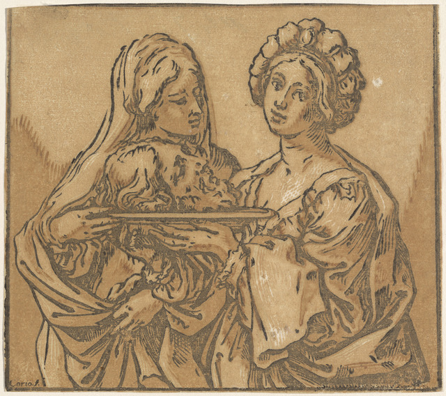 Bartolomeo Coriolano after Guido Reni, 'Herodias and Salome', 1631, Print, Chiaroscuro woodcut printed in ochre, brown, and black on laid paper, National Gallery of Art, Washington, D.C.