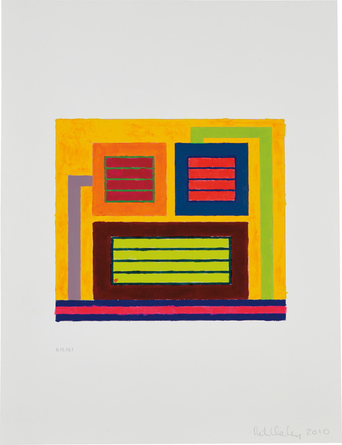 Peter Halley, 'Untitled (6.15.10.1)', 2010, Drawing, Collage or other Work on Paper, Acrylic and Day-Glo acrylic on digitally printed paper, Visioner