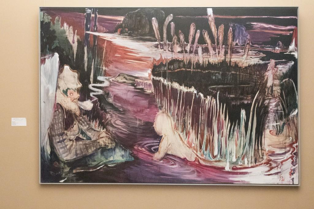 Nachtfischen II, 2018, Oil on canvas, 120 x 175 cm, the feature work of the exhibition